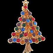 Signed JJ Christmas tree Brooch with multicolored rhinestones