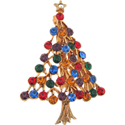 Signed JJ Christmas tree Brooch with multicolored rhinestones