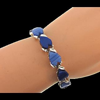 Vintage thermoset link Bracelet in blue shades