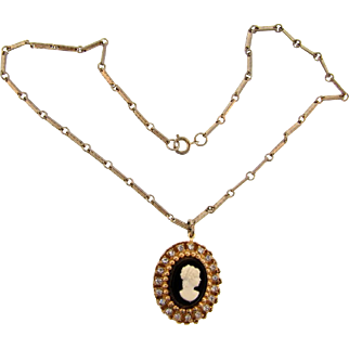Vintage pendant Necklace with a faux cameo and crystal rhinestones