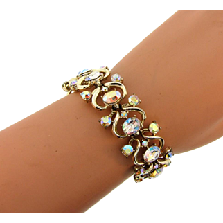 Signed Pegasus Coro 1960's link Bracelet with AB crystal rhinestones
