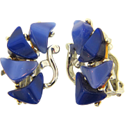 Vintage clip back thermoset blue Earrings