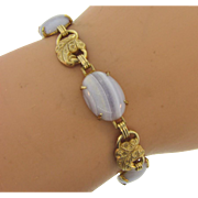 vintage link Bracelet with gold tone leaves and banded agate stones