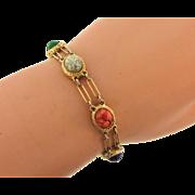 Signed Goldette NY link Bracelet with stone scarabs