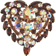 Juliana D&E 1960's heart shaped rhinestone Brooch topaz and AB hues