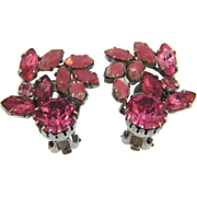 Vintage clip back 1960's Earrings in shades of pink