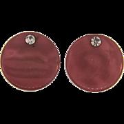 Vintage retro mauve and rhinestone Buttons
