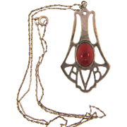 Arts and Crafts style pendant Necklace with carnelian stone