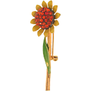 Vintage daisy Brooch with orange rhinestones