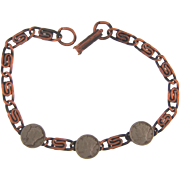 Marked solid copper link Bracelet with tiny decorative dimes