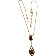 Lovely pendant drop Necklace with amethyst glass cabochons