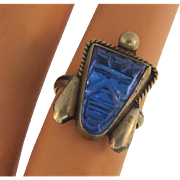Marked Taxco 925 sterling silver Ring with blue glass mask
