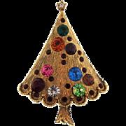 Vintage Christmas tree Brooch with multicolored rhinestones