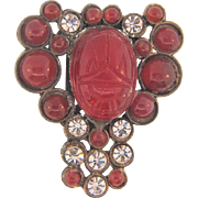 Art Deco pot metal Dress Clip patent dated to the 1930's with carnelian colored and crystal paste stones