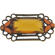 Small early Scatter Pin with citrine glass stone and orange enamel