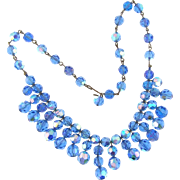 Vintage blue faceted crystal choker Necklace