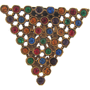 Art Deco Dress Clip with multicolored rhinestones