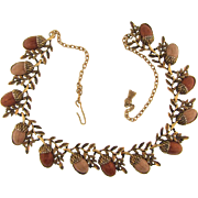 Vintage choker Necklace with thermoset acorns