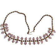 Vintage rhinestone and bead choker Necklace in a lavender hue