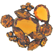 Marked Czechoslovakia rhinestone Brooch in amber fall shades