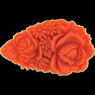Marked Japan vintage molded celluloid floral Brooch