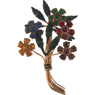Large 1940's floral bouquet Brooch with rhinestones and enamel