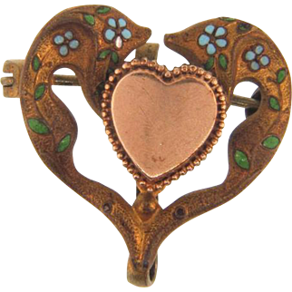 Early small gold filled heart shaped Watch Pin with blue enamel flowers