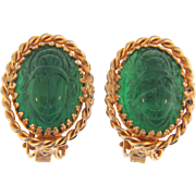 Signed Hobe clip back Earrings with green glass scarab cabochons