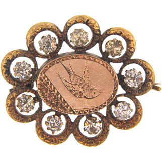 Early small Brooch center bird plaque with paste stones