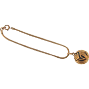 Vintage gold tone chain Bracelet with charm ball
