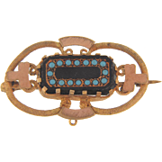 Early 1900's gold filled Brooch with center black glass and turquoise glass beads