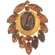 Vintage 1960's Brooch with molded glass leaves and Art glass center