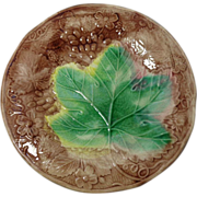 19th Century Majolica Plate with Maple Leaf Book Piece