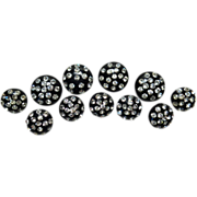 11 1950's Black Buttons w/ Sparkling Rhinestones in 2 sizes