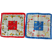 TWO 1940's Childs BROWNIES Hankies Handkerchiefs
