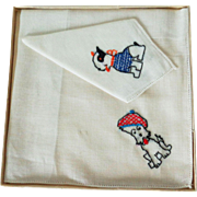 TWO 1940's Childs Embroidered Dog Hankies in Original Box