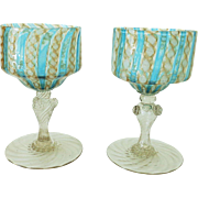 TWO Mid Century Venetian Latticino Zanfirico Wine Glasses Stems