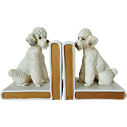 Pair of Vintage LEFTON Pottery French Poodle Bookends