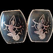 Large Vintage Niello SIAM Sterling Goddess Cufflinks