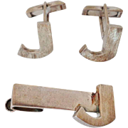 1940's TAXCO Sterling Cufflinks & Tie Clasp Set, Initial 'J'