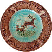 """Antique Majolica Stag and Hound (Dog and Deer) 8"""" Plate"""