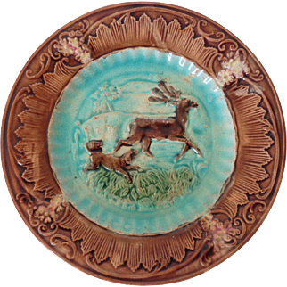 "Antique Majolica Stag and Hound (Dog and Deer) 8"" Plate"