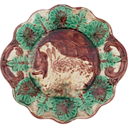 19th C Majolica Dog & Doghouse Platter w Handles, Ferns, Leaves