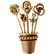 Vintage Brooch Pin of Thimble Filled with Five Stickpins