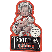 Original Hang Tag for Ideal Tickletoes 1930s