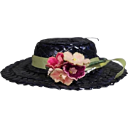 "Darling Vintage Straw Hat - Ginny Muffie Alexanderkins - 8"" Doll 1950s"