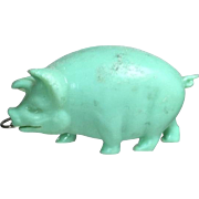 Vintage 1940s Green Celluloid Pig Sewing Tape Measure! Occupied Japan