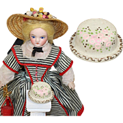 Vintage c1940s Wooden Painted Dolly Dear Doll Birthday Cake!