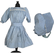 Darling Vintage Bisque Doll Blue White Checkered Dress w Matching Bonnet!