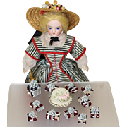 Vintage Mini Doll Wooden 1950s Birthday Cake and Presents!